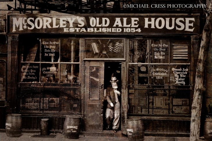 """McSorley's Old Ale House ~ New York City ~ Est. 1854 in ""Five Points neighborhood"" of lower Eastside of Manhattan, now known as the East Village."""