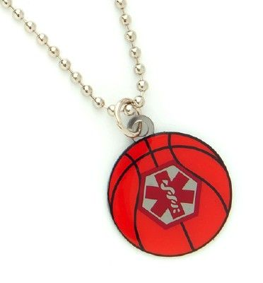 Basketball Sports Medical ID Necklace This is the one Rylan has :)