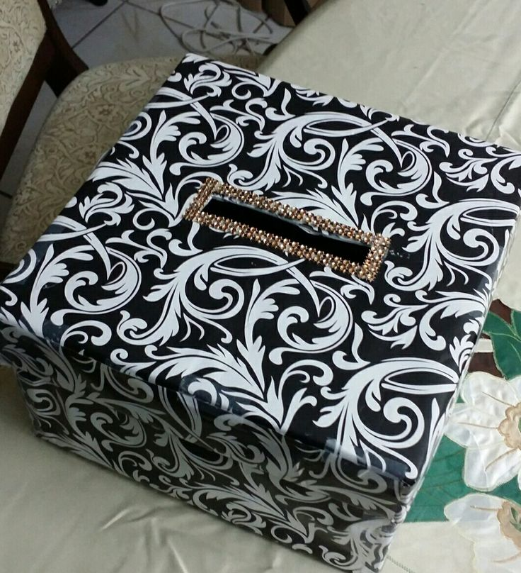 DIY Monetary & Card Gift Box. I created this for the couple to use throughout their wedding events. This was made using an old shoe box covered with Damask wrapping paper and gold Rhinestones at the insert.