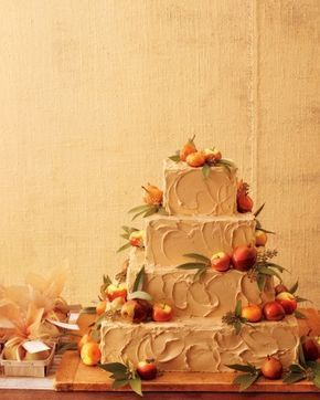 Rustic Wedding Cake Martha Stewart Designs This beauty, frosted with brown-sugar buttercream, is just begging to be sliced, served, and devoured. Tiny crab apples and petite Seckel pears coated in caramel drive home the harvest-time feel, while fresh bay leaves and eucalyptus berries add touches of greenery. Ask your baker for apple cake with caramel-apple buttercream inside, and it will taste every bit as scrumptious as it looks. Need a favor idea?