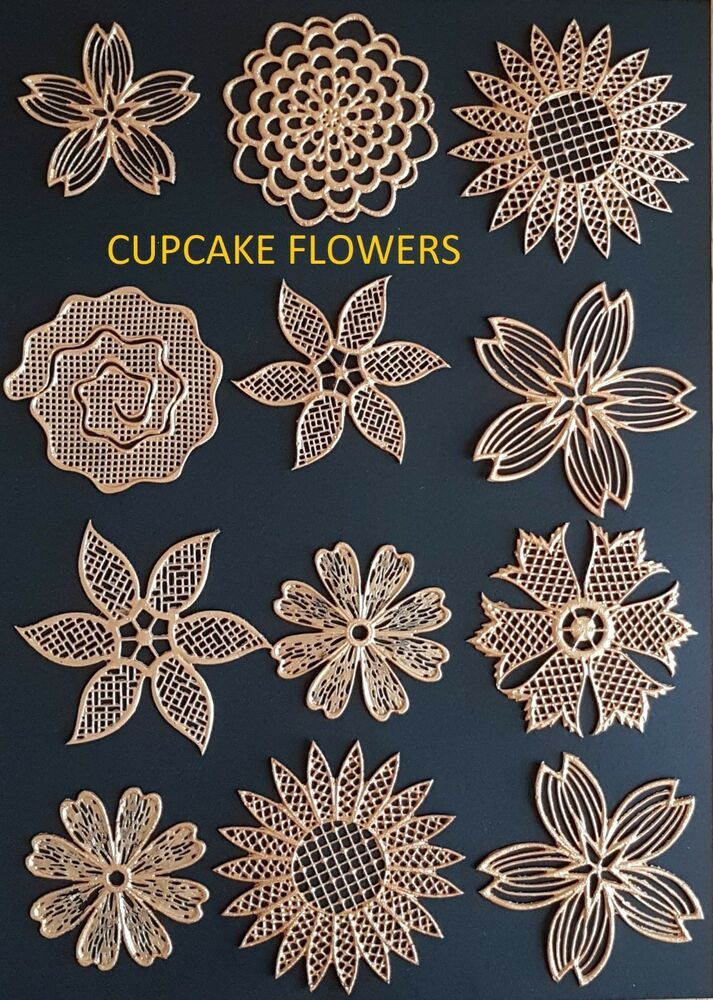 Edible Cake Lace Bows Flowers Leaves Set Cake Lace Toppers Sugarcraft Cupcake Edible Cake Cake Lace Flower Cake Decorations