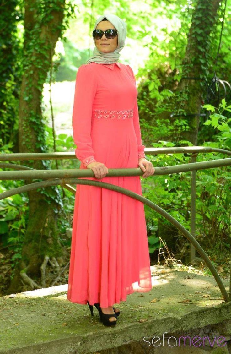 2014 Yazlık ZRF Tesettür Elbise 9044-10 Mercan