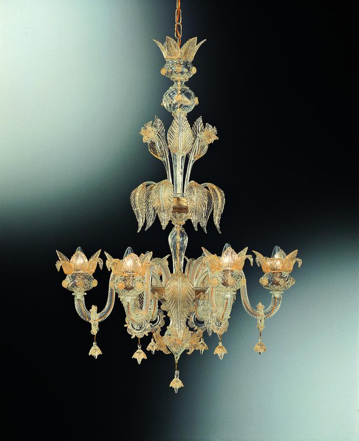 """#Venetian #glass #chandelier """"#Ducale"""" with 6 #lights colour #crystal and decorations in #gold leaf 24 #carats.--- #Lampadario #veneziano 6 #luci #cristallo e #oro #24kt fatto a mano dai  #maestri #vetrai di #Murano."""