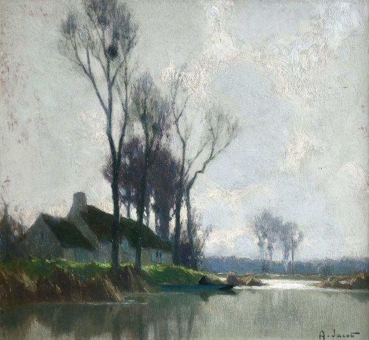 Alexandre Louis Jacob 1876 1972 Landscape Painting Au Bord De