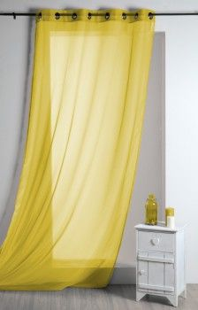 Fertiggardine Ösengardine einfarbig Voile gelb 135x260cm