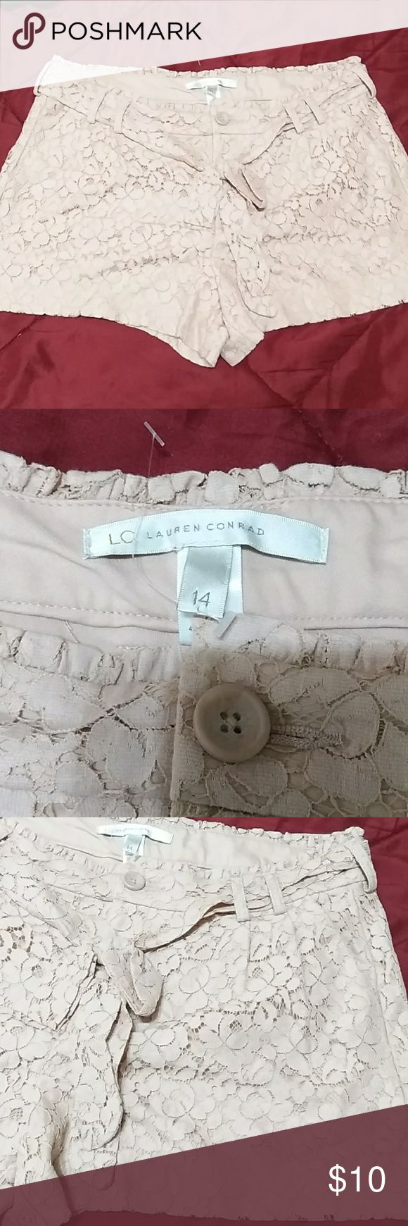 Lauren Conrad  lace shorts S-21 Cream lace shorts  never been use just like new.  Measurements laying flat  Waistline :18 inches Length:14 inches LC Lauren Conrad Shorts