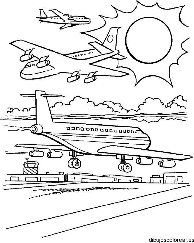 Dibujo De Aviones En La Pista Paginas Para Colorear Para Ninos Avion Dibujos Colorear Para Ninos