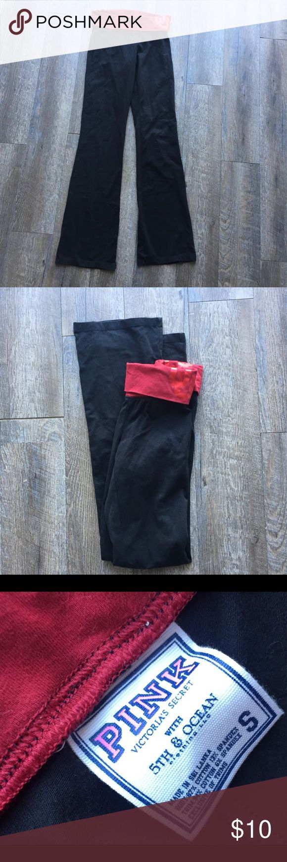 VS PINK Oklahoma university yoga pants small Victoria's Secret PINK bell bottom YOGA pants for the sports team Oklahoma university OU. Petty great condition. In a size small. Smoke free home with pets PINK Victoria's Secret Pants Leggings