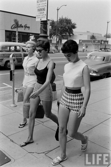 THEY WERE CALLED SHORT-SHORTS IN THE 50S, AND ONLY BAD GIRLS (THE TOWN TRAMP) WORE THEM, UNTIL THEY WERE REINTRODUCED AS HOT PANTS SO ELEGANTLY IN 1969!