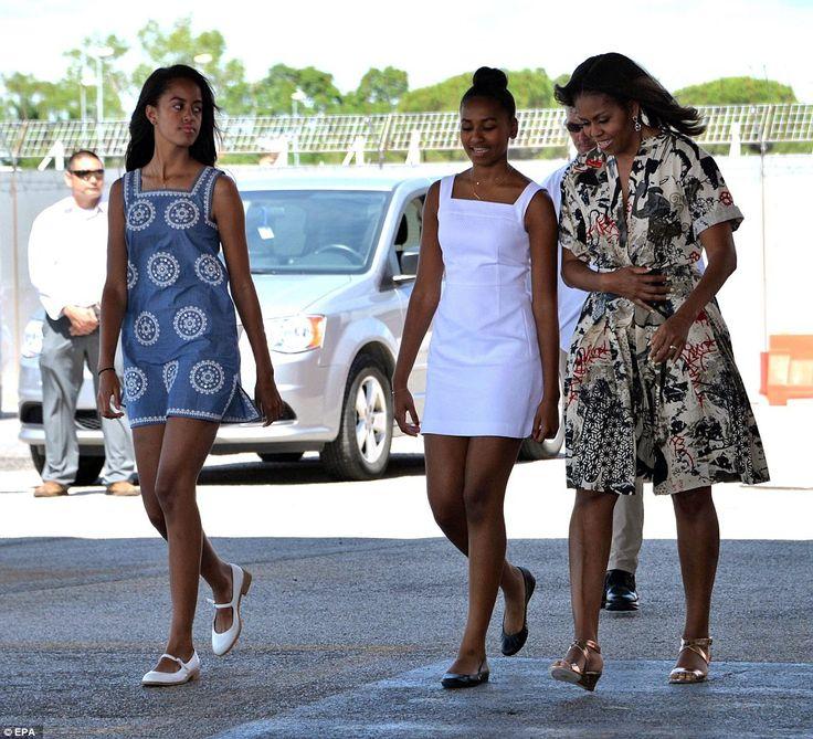 June 21, 2015 ---Malia, Sasha, And Michelle Obama Leaving