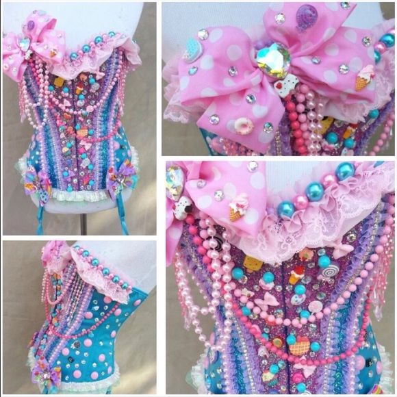 Rave outfit  rave bra Such a stunning piece ✨ I got so many compliments at Edc, this corset was designed by euphoric treasures with Swarovski crystals. Candyland theme  this will fit a 34C/32D comes with the tutu as well will go cheaper on ️ ️ Other