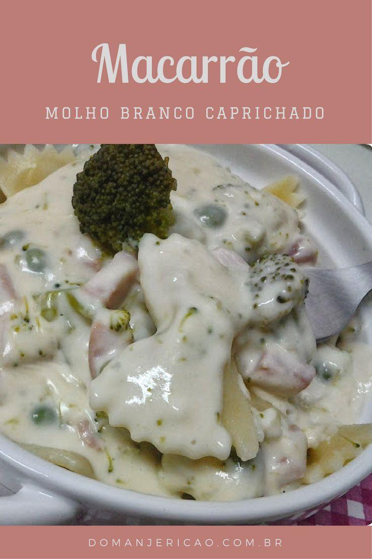 Macarrão com molho branco caprichado com presunto e brócolis.