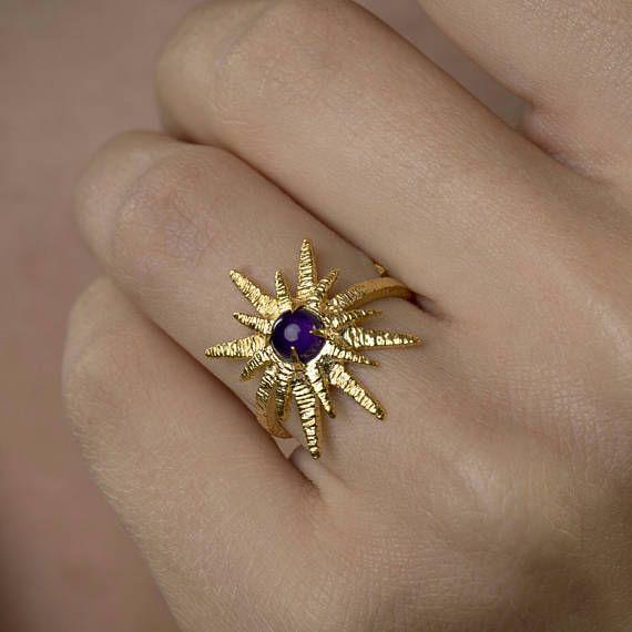 Αστέρια Ring Φυσικό Μωβ Αμέθυστος 925 RingCut