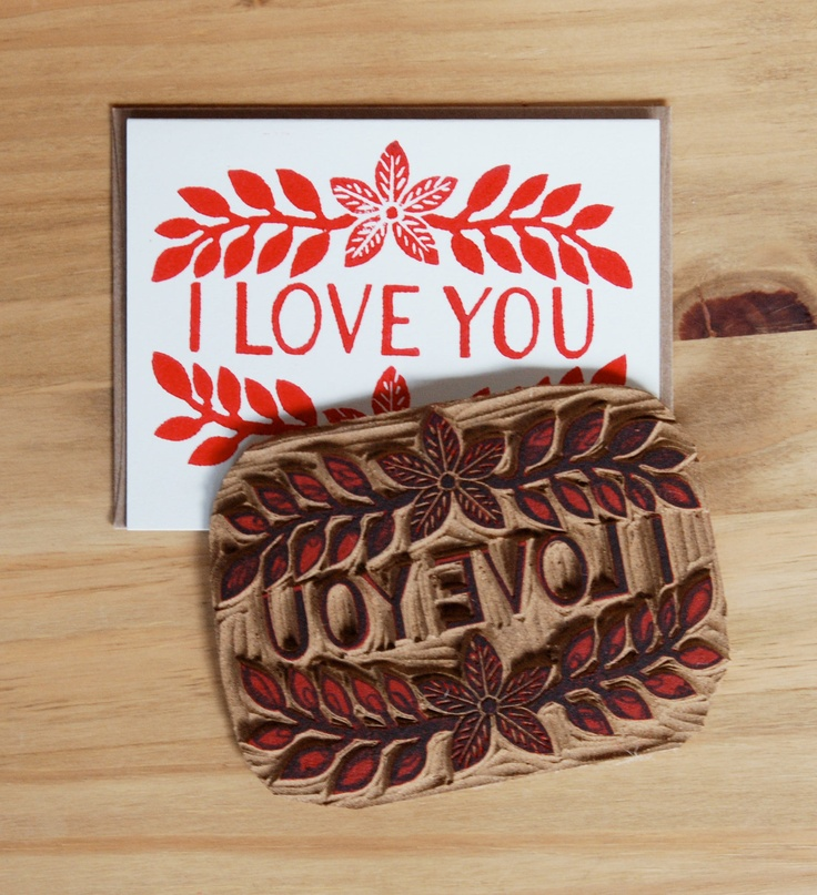 Single Hand Block Printed I Love You Card by ShopKatharineWatson
