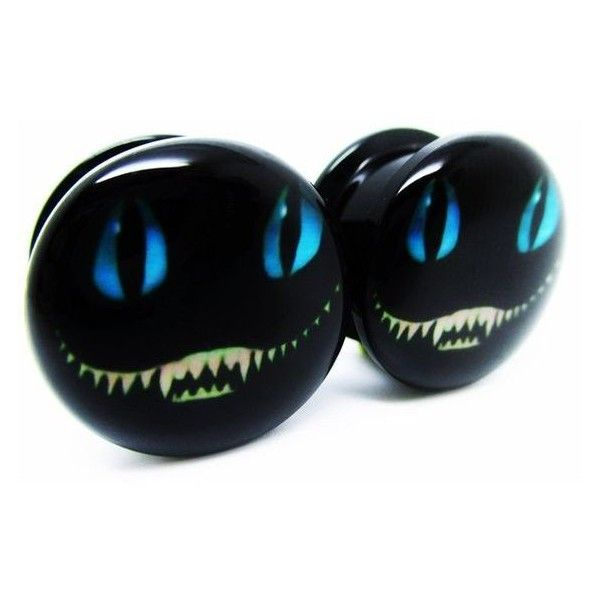 """1/2"""" (12mm) Alice in Wonderland Cheshire Cat Screw-on Ear Plugs Acryli ❤ liked on Polyvore featuring jewelry, earrings, cat jewelry, earrings jewelry and cat earrings"""