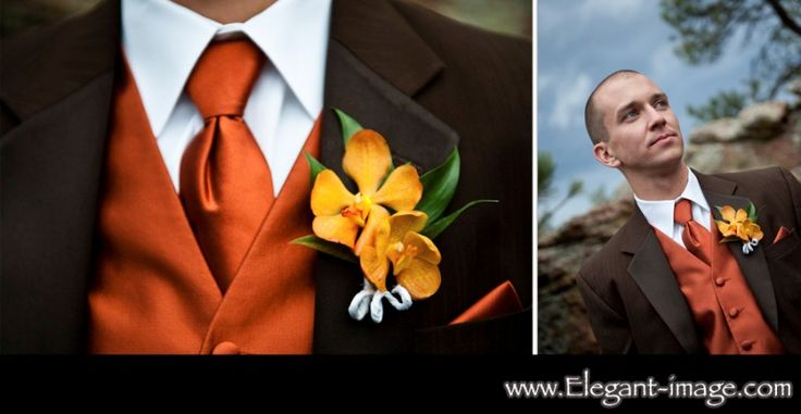 Groomsmen chocolate brown tux with orange vest and tie :)