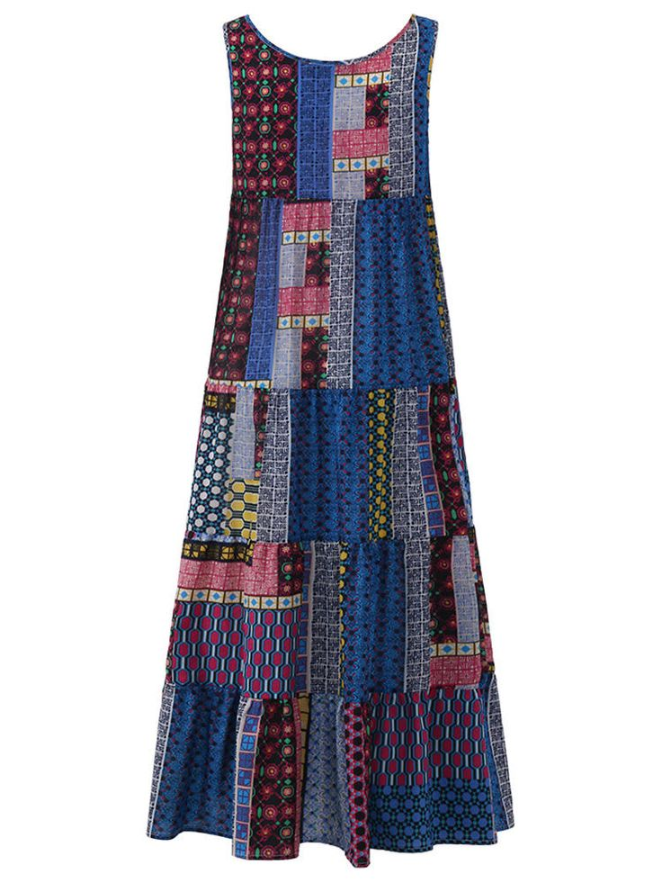 Only US$27.99 , shop M-5XL Gracila Bohemian Patchwork Tank Dress at Banggood.com. Buy fashion Maxi Dresses online.