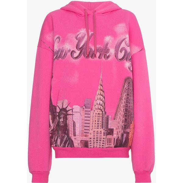 balenciaga pink new york hoodie