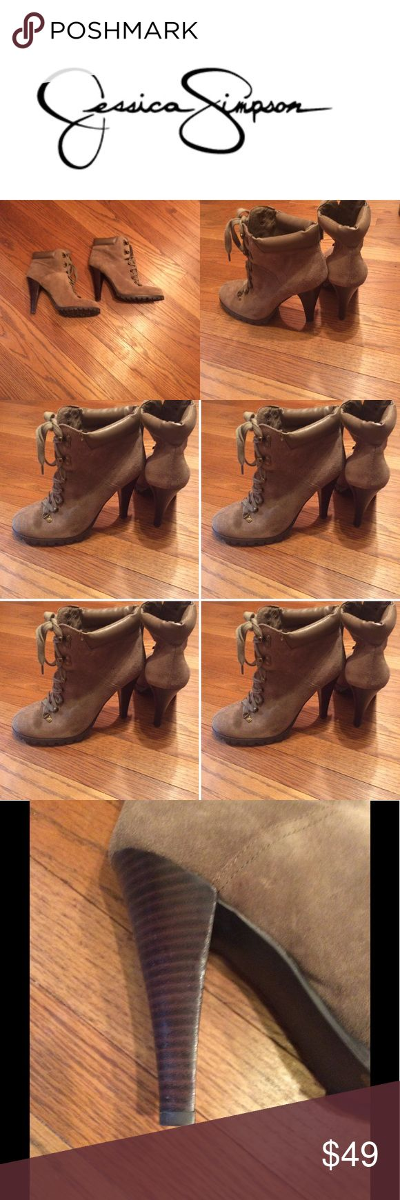 Jessica Simpson JP Baxter Boot Sheds and leather tie up heeled boot. So chic and cute. Style it with skinny jeans or go with leather pants. Throw on a A-line skirt and really mix things up. These are in a beautiful taupe neutral color so style favorites are endless. Gently loved in like new condition ! Sturdy shoe with great tread to make walking a breeze. Size 9.5 B Jessica Simpson Shoes Heeled Boots