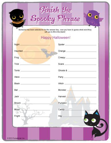 finish the spooky phrase perfect halloween printable game for kiddies - Halloween Games For Groups