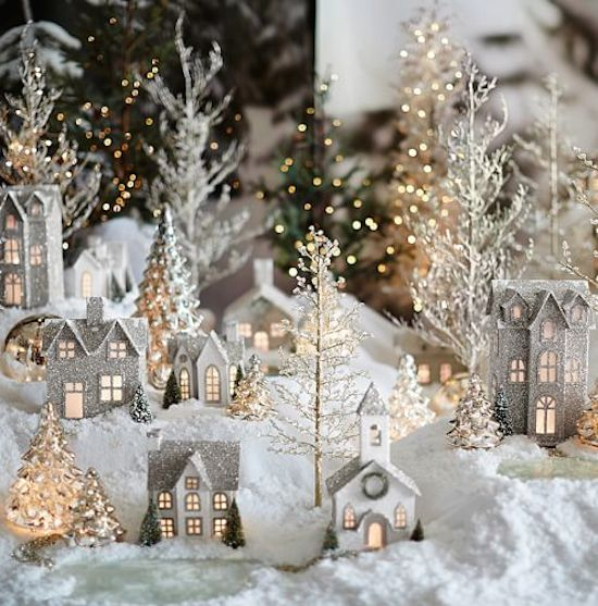 Pretty Glitter Village Http://rstyle.me/n/rv9x6r9te. White Christmas  DecorationsChristmas ...