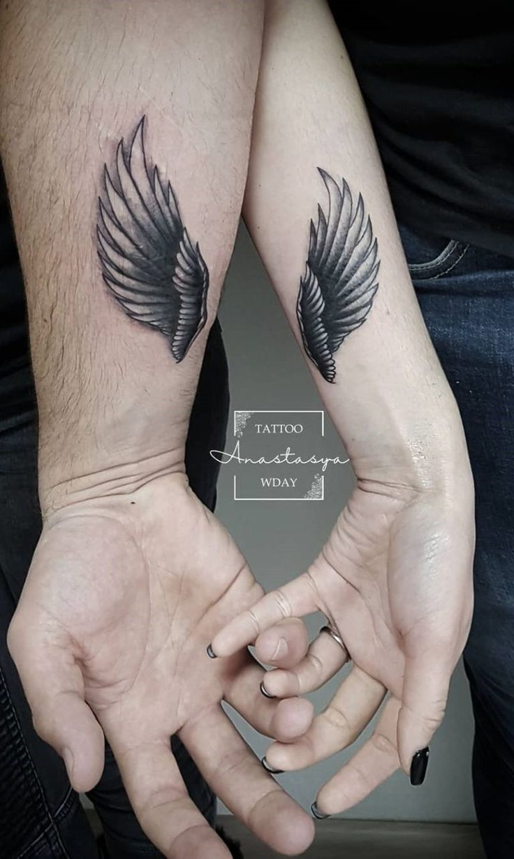 тату крылья для двоих фото профессиональная