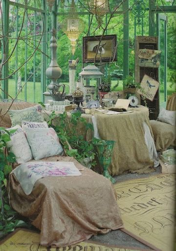 beautiful sun room, would be awesome to sit in a rain storm :) the sound would be amazing..