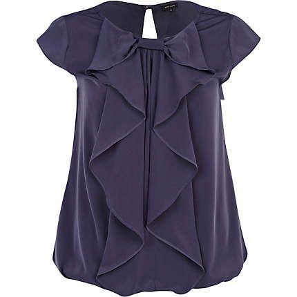 Navy bubble hem bow front blouse - blouses - blouses / shirts - women