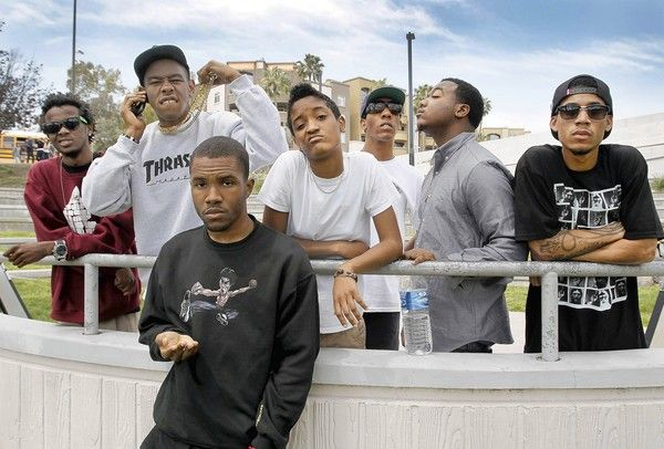 from left to right, Mike G, Tyler the Creator, Frank Ocean, Syd Tha Kyd, Left Brain, Clancy or Jasper Dolphin, Hodgy Beats
