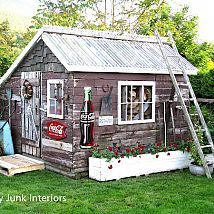 Hometalk :: A little green house in my backyard received a facelift. The plastic w…