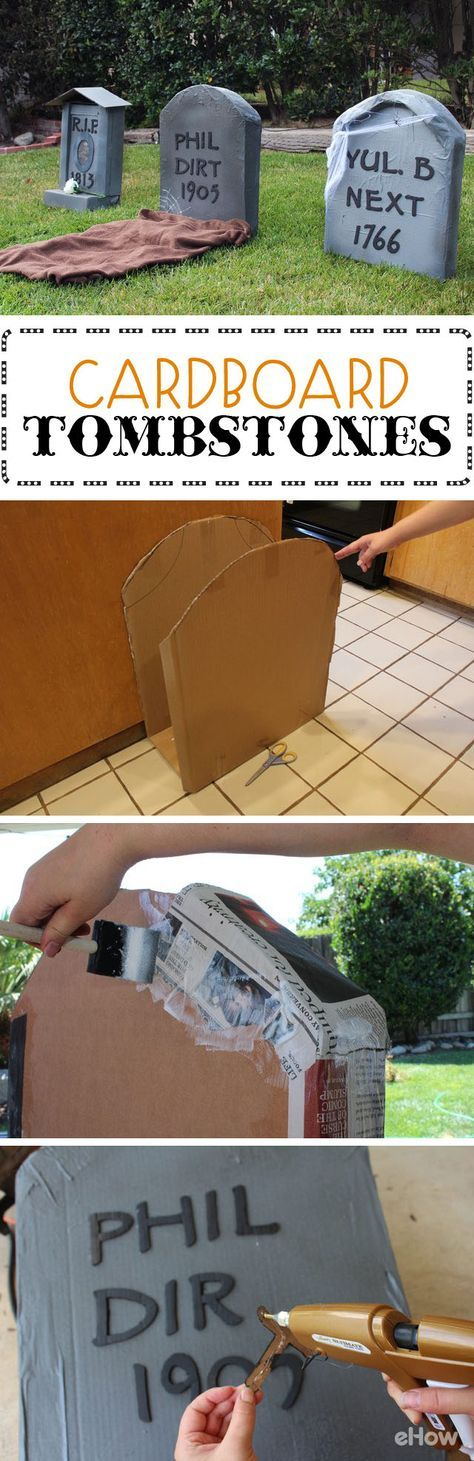 Make these great tombstones out of cardboard boxes and save a ton on Halloween decorations. It's so easy to make, you can get the whole family involved and knock out a few in no time. http://www.ehow.com/how_4863315_make-cardboard-tombstones.html?utm_source=pinterest.com&utm_medium=referral&utm_content=freestyle&utm_campaign=fanpage