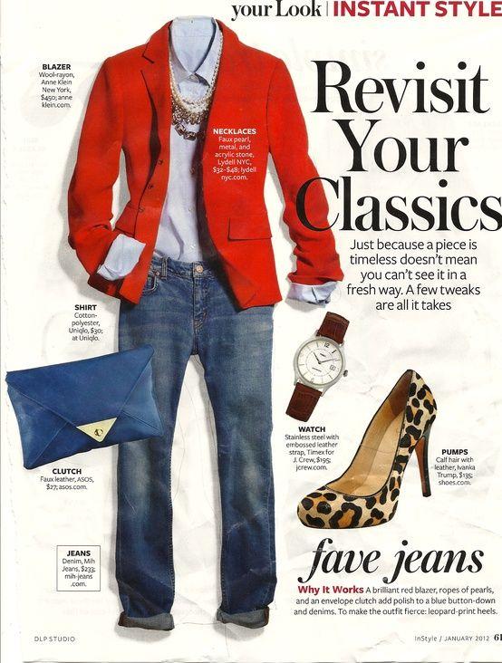 >>> Light blue button-down shirt.  Red blazer.  Jeans.  Leopard shoes.