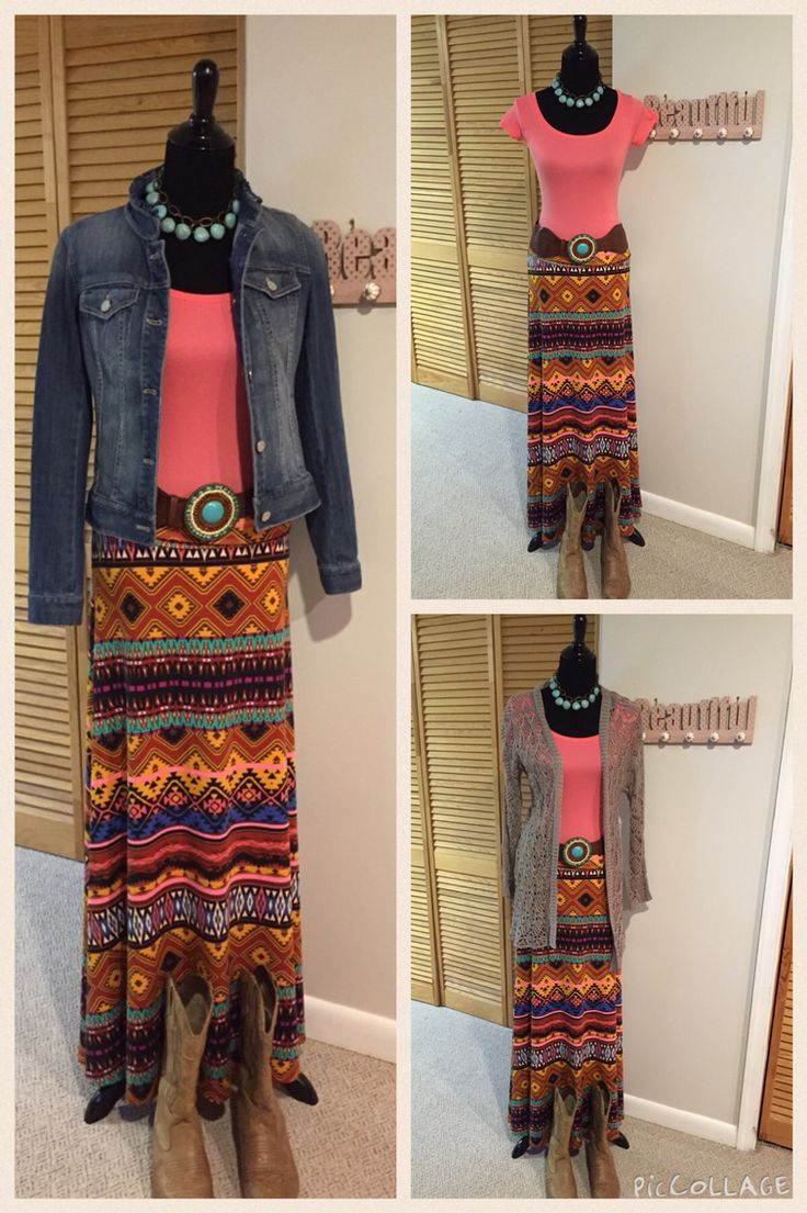 Aztec maxi styled a few different ways. Who doesn't love a skirt that can be worn so many different ways? Shop on Facebook with me at LuLaRoe Wendy Preslan VIP