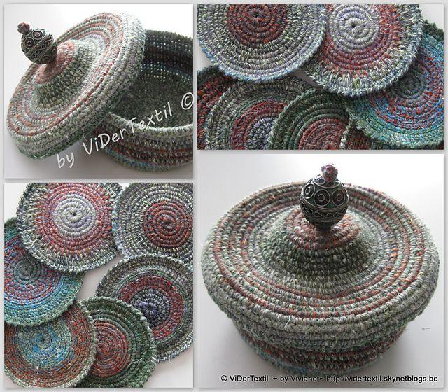 Cestita posavasos con el patrón de la tapa gratis   -   Free pattern-Coasters little basket with lid pattern by Viviane Deroover