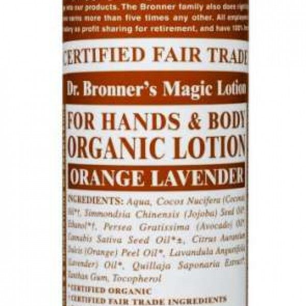Dr Bronners Orange Lavender Lotion contains organic jojoba oil to moisturise dry skin exceptionally well, without being greasy, coconut oil to assist absorption.