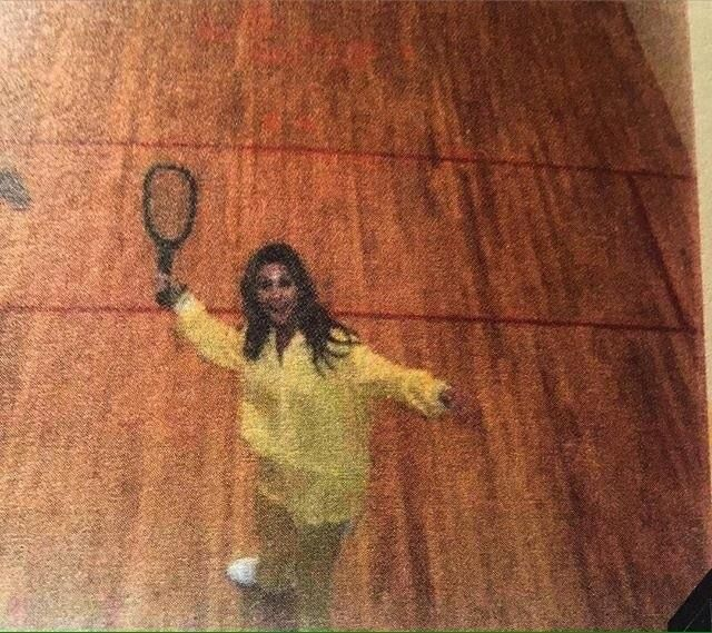 Linda Thompson playing racquet ball on the court at Graceland