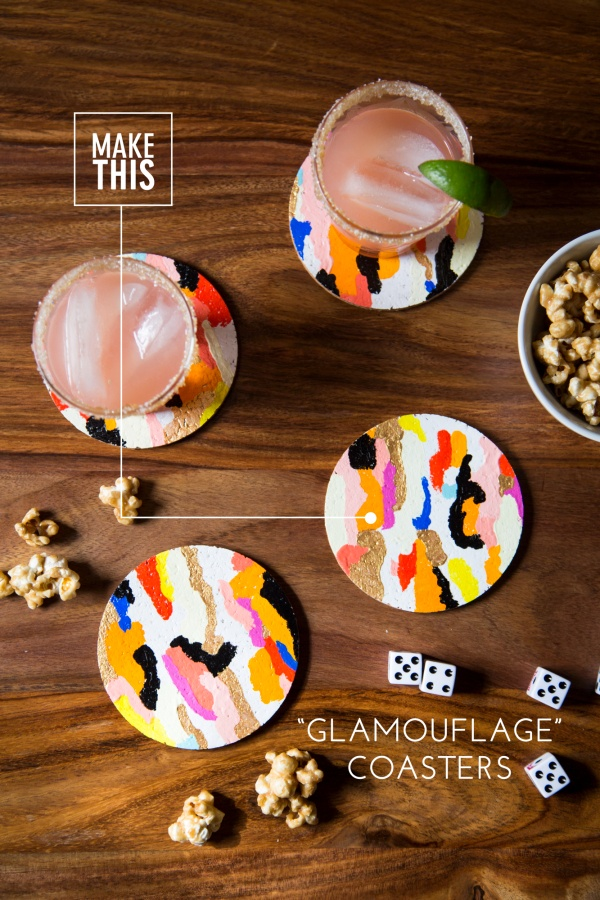"""Glamouflag"" Coasters: Simple yet fun weekend craft idea."