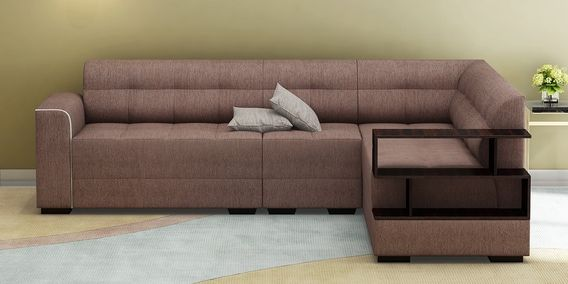 Modish Lhs Sectional Sofa With Pouffe In Brown Colour By Muebles
