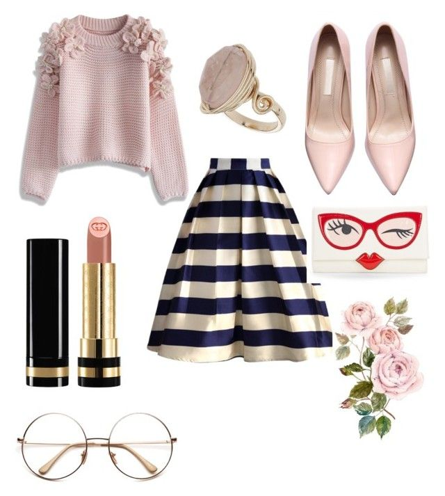 """Untitled #9"" by mayapriskilla on Polyvore featuring Chicwish, Gucci, Topshop and Kate Spade"