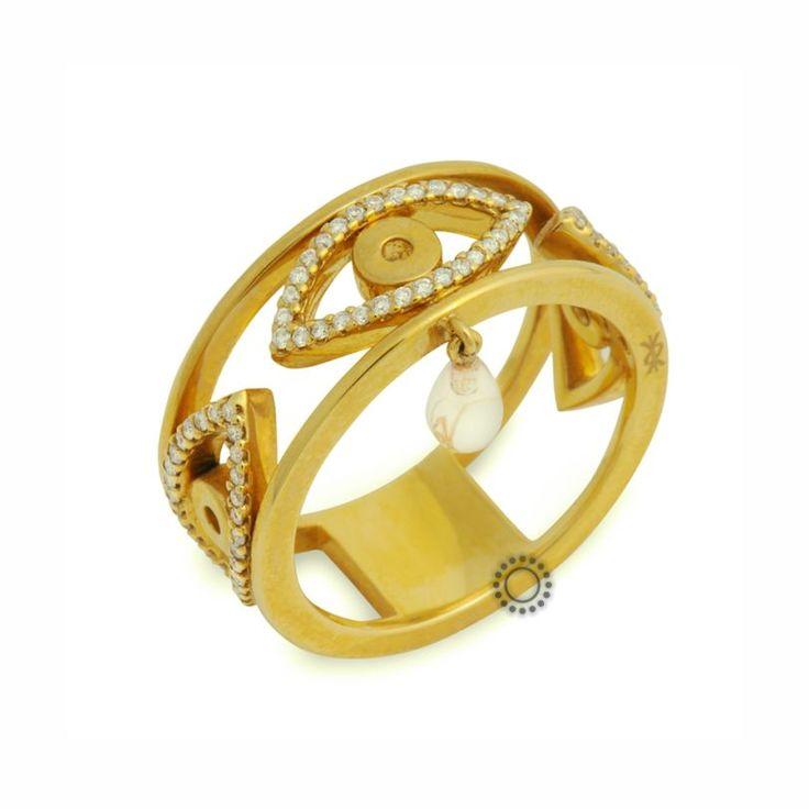 Πολύτιμο γυναικείο δαχτυλίδι από χρυσό Κ18 με κενά με μάτια από διαμάντια και κρεμαστό ορυκτό ανοιχτοπράσινο χαλαζία | ΔαχτυλίδιαΤΣΑΛΔΑΡΗΣ στο Χαλάνδρι #δαχτυλίδι #διαμάντια #rings #diamonds