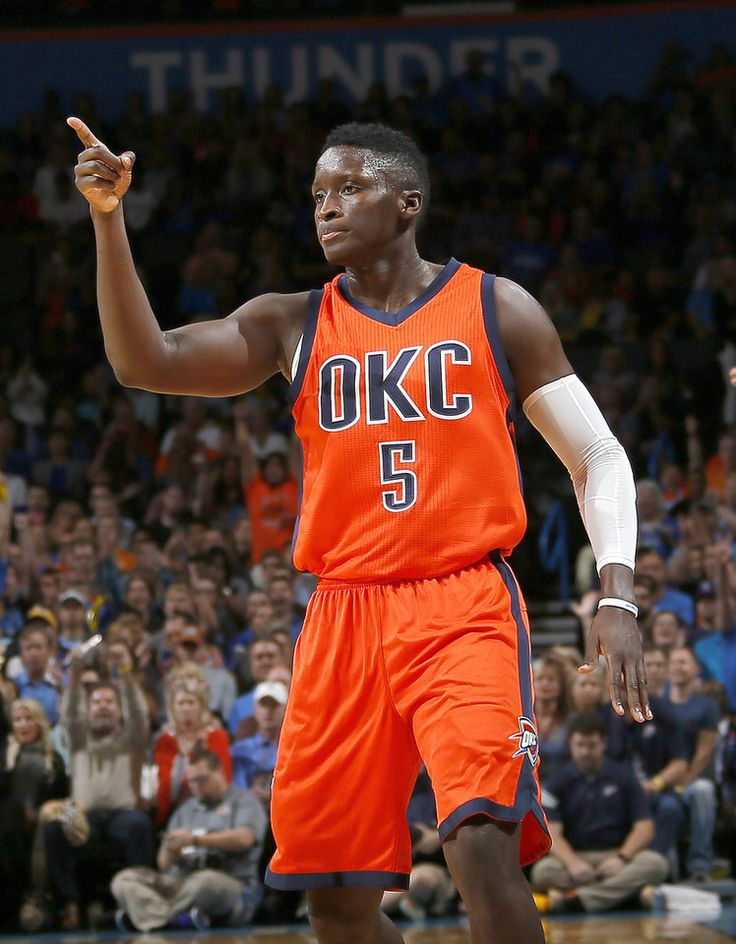 Oklahoma City's Victor Oladipo (5) celebrates a point during the NBA game between the Oklahoma City Thunder and Los Angeles Lakers at the Chesapeake Energy Arena, Sunday, Oct. 30, 2016. Photo by Sarah Phipps, The Oklahoman
