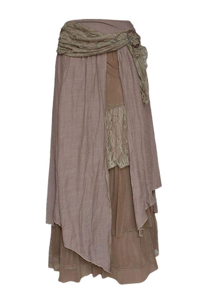 Pretty Angel LIGHT BROWN Skirt Gypsy Pirate Peasant maxi Victorian  RENAISSANCE