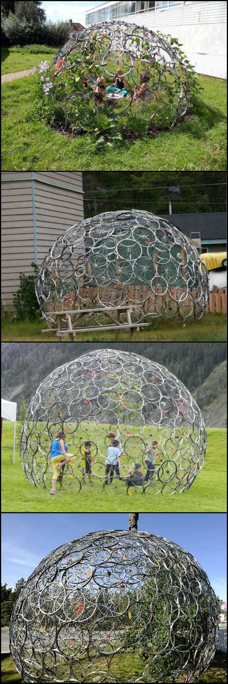My kids would absolutely love one of these and all it takes is bunch of old bike rims, a packet of cable ties, some hard work and a few creeping plants.  Here's a gallery showing how you can change the future by upcycling some of those 'disposable' bikes http://theownerbuildernetwork.co/8xlo  Have you got an old bike that could do with a new life?