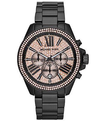 LOVE.  MUST HAVE.  Michael Kors Women's Chronograph Wren Black-Tone Stainless Steel Bracelet Watch 42mm MK5879