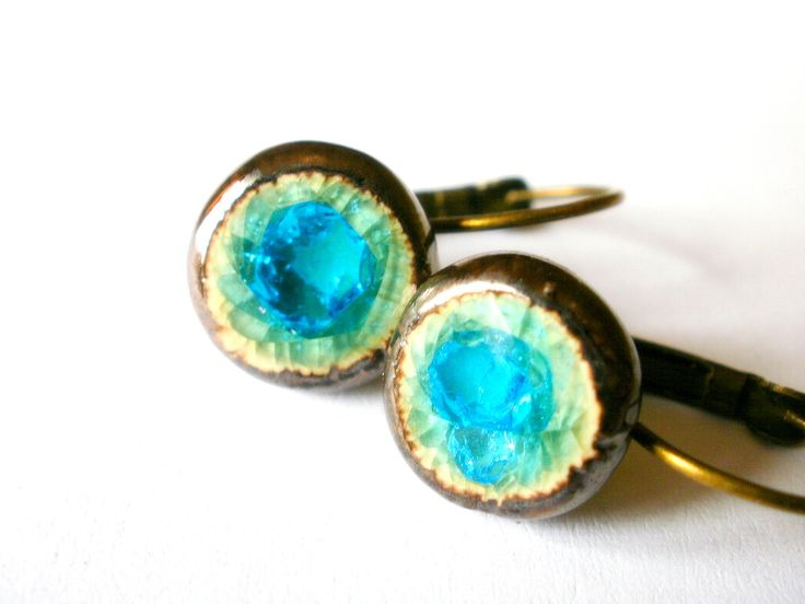 White Clay Turquoise Earrings