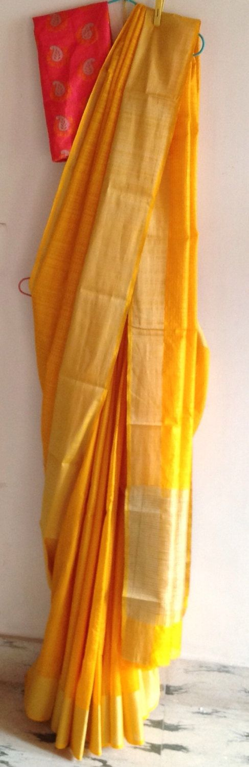 Mango orange saree semi jute saree with candy pink semi silk brocade blouse by GiaExquisiteIndian on Etsy