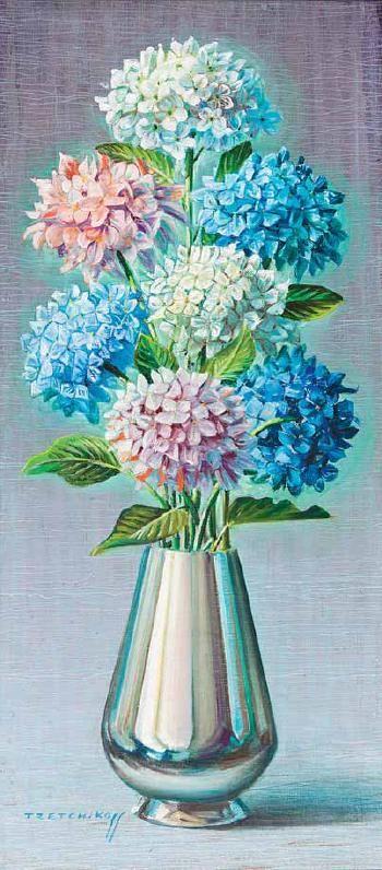 Hydrangeas in vase by Vladimir Tretchikoff   Blouin Art Sales Index