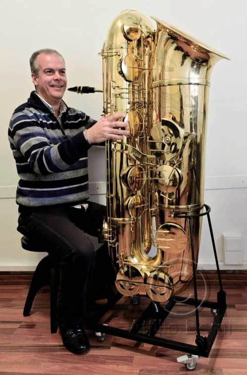 J'Elle Stainer subcontrabass saxophone, Attilio Berni, saxophone player