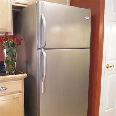 Go Stainless  How to do it: Update an old fridge with a faux stainless-steel painted finish.    Estimated cost: 1 quart of Thomas Liquid Stainless Steel TM Base Coat, about $56; Thomas' Liquid Stainless Steel