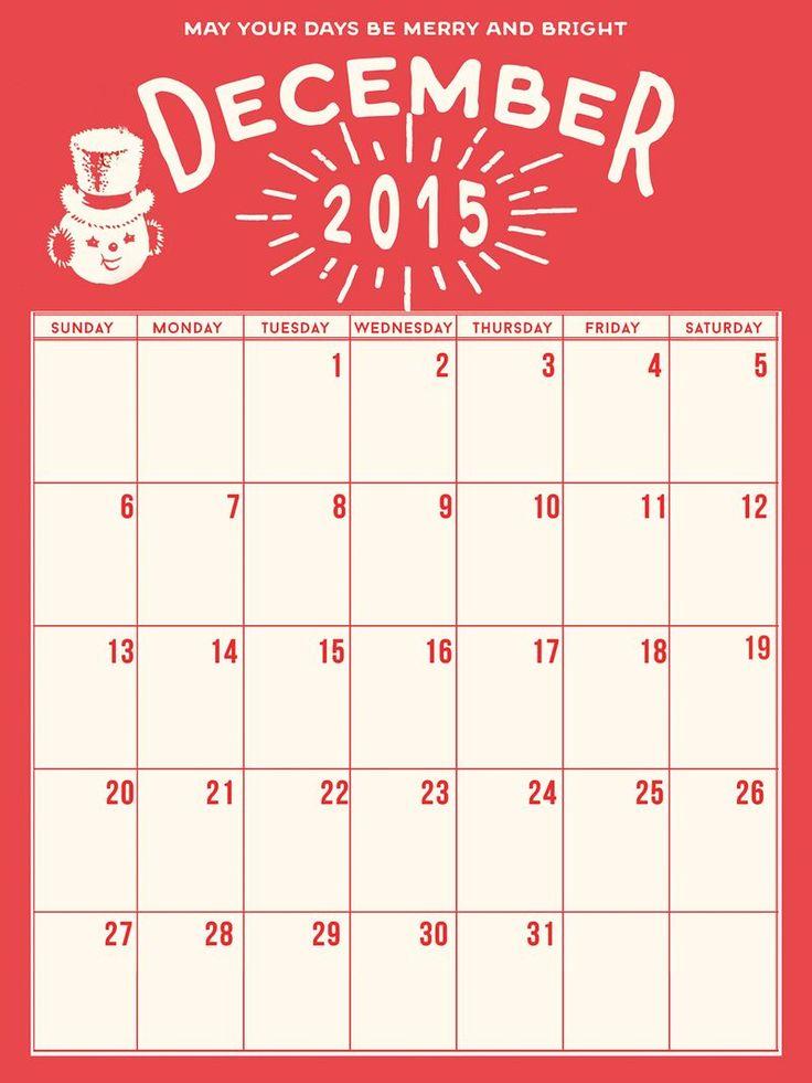 Christmas Calendar 2015 : Holiday calendar december daily freebie courtesy of marie